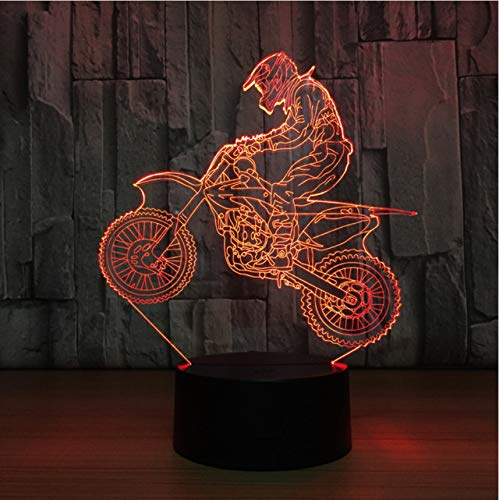 Lixiaoyuzz 3D Nachtlampe Motocross Bike Night Lights Novelty Table Lamp Usb 7 Colors Sensor Touch Desk Lamp As Holiday Awards Gifts For Sports Guy