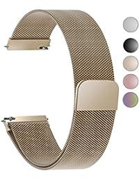 4 Colores para Correa de Reloj,Fullmosa®Milanese Piel Correa Huawei Samsung Correa/Banda/Band/Pulsera/Strap de Recambio/Reemplazo 18mm 20mm 22mm 23mm 24mm, Oro Rosa 22mm