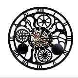 LXZ Steampunk Vinyl Mauer Uhr Familie Geschenke Ventilator Zahn Räder Kunst Leben Zimmer Zubehör Dekor Einzelheiten Zahnräder Modern Geschenke Teile Getriebe Abstrakt Expressionismus Mechanismus Dekoratio