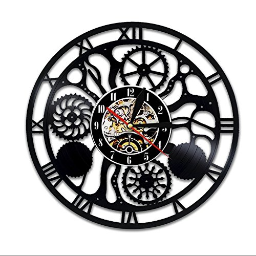 LXZ Steampunk Vinilo Pared Reloj Familia Regalos Ventilador Diente Ruedas Art Vivo Habitación Accesorios Decoración Detalles Cogs Moderno Regalos Partes Engranajes Abstracto Expresionismo Mecanismo Decora