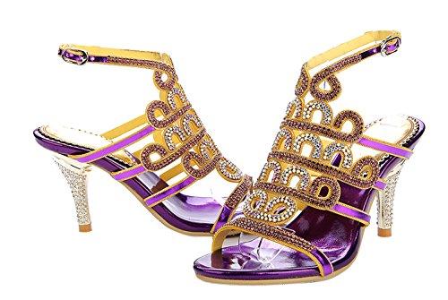 Honeystore Damen's Stöckel Absatz Sandalen Absatzschuhe mit Strass Schuhe Violett