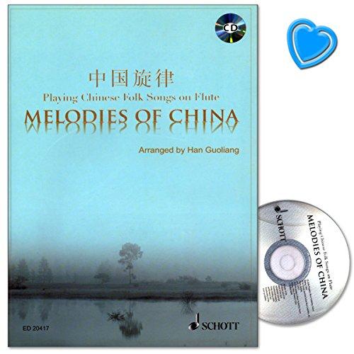 Melodies of China - Sammlungen von chinesischen Volksliedern - Ausgabe für Flöte mit CD und bunter herzförmiger Notenklammer