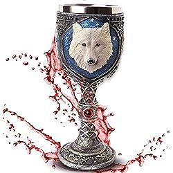 """Cáliz """"White Wolve"""" - Lobo blanco bajo el cielo estrellado - Decoración medieval fantasía fantástico"""