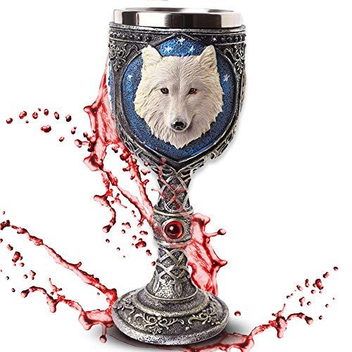 Deko Kelch 'White Wolve' - Weißer Wolf vor Sternenhimmel - Fantasy