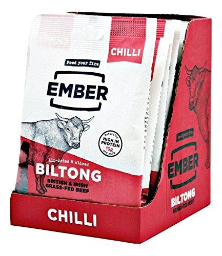 Best Ember Biltong - Beef Jerky - Traditionelles Gras gefüttert Steak. Proteinreicher Biltong Snack - kein Zucker gesunder Snack, 10 x 30g Beutel - NEUER STARTABLAUF - NUR DIESE WOCHE! (Chilli)