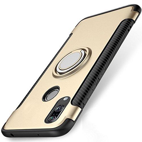 Huawei P20 Lite Hülle, WindCase 360 Grad drehbarer Ring Halter Ständer Dual Layer Stoßfest Schutzhülle Kompatibel mit Magnetic Car Mount Fall für Huawei P20 Lite Gold (Dual-ring-mount)
