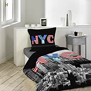 Housse de couette 140 x 200 cm taie black new york for Amazon housse de couette