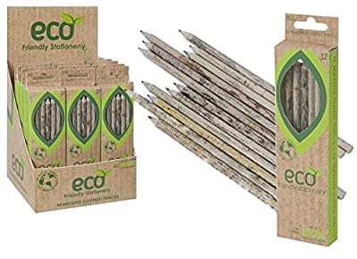 12 Premium Quality Eco Recycled Pencils Newspaper Lead Pencil HB School Graphite. by Recycled