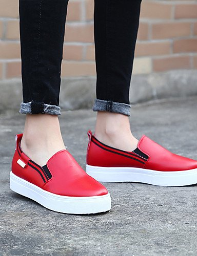 ZQ gyht Scarpe Donna - Mocassini - Casual - Punta arrotondata - Basso - Finta pelle - Nero / Rosso / Bianco , red-us8 / eu39 / uk6 / cn39 , red-us8 / eu39 / uk6 / cn39 red-us5.5 / eu36 / uk3.5 / cn35