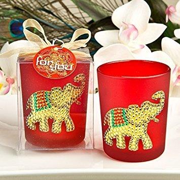Sostenedor de Velas Votivo Rojo Rubi, Elefante de la Suerte Indio