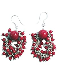 roten Korallen Ohrringe mit 925 Silber Stift