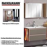 Fackelmann Badmöbel Set Viora 3-tlg. 80 cm pinie Grau mit Waschtisch Unterschrank & Gussbecken & LED Spiegelschrank