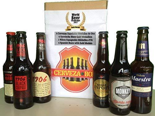 Cerveza Box - 6 beste spanische Biere, Gewinnerflaschen Word Beer Challenge - 1906 Estrella Galicia Reserva Especial, Red Vintage, Black Coupage, Ambar Export, Mahou Maestra, Mamba Negra Geschenkbox