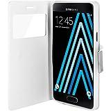 Avizar - Housse Etui Clapet Fenêtre Samsung Galaxy A3 2016 - Blanc