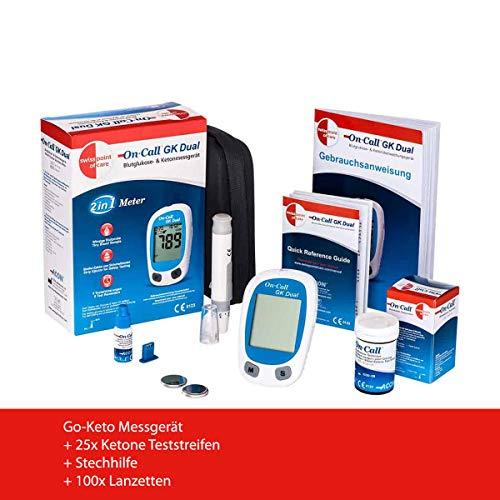 Swiss Point Of Care GK Dual Blutzucker und Ketone Starterpaket | 1 x Messgerät (MG/DL), 1 x Stechhilfe, 100 x Lanzetten, 25 x Ketone-Teststreifen | zur laborgenauen Messung von Blut-beta-Keton