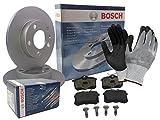 Bosch BREMSEN SET HINTEN 2x BREMSSCHEIBE VOLL + 4 BREMSBELÄGE, inklusive Montagehandschuhe - Bremsensatz, Scheibenbremse Bremsen Set, Bremskit, Bremsenkit