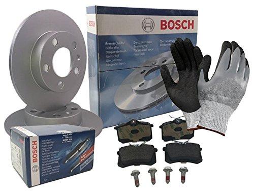 Bosch BREMSEN SET HINTEN 2x BREMSSCHEIBE VOLL + 4 BREMSBELÄGE, inklusive Montagehandschuhe - Bremsensatz, Scheibenbremse Bremsen Set, Bremskit, Bremsenkit (Honda Prelude Bremsscheiben)