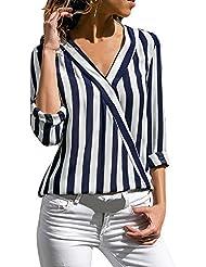 Honestyi Blusas y Camisas a Manga Larga para Mujer Camisetas de Rayas Irregular Polos Casual Cuello V Top Verano Bodis