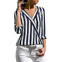 JURTEE Sommer Damen Streifen Oberteile Tiefem V-Ausschnitt Langarm  Gestreift Irregulär Saum T-Shirt 870c229851