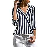JURTEE Sommer Damen Streifen Oberteile Tiefem V-Ausschnitt Langarm Gestreift Irregulär Saum T-Shirt Bluse Tops(Large,Z-1# Blau)