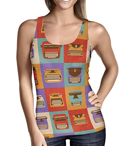 Retro Typewriters in Squares Ladies Tank Top -
