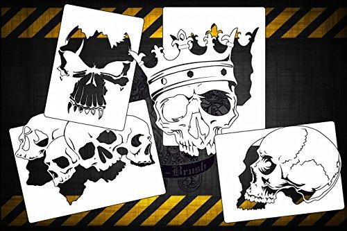 Airbrush Schablonen 4er Skull Schablonen SET