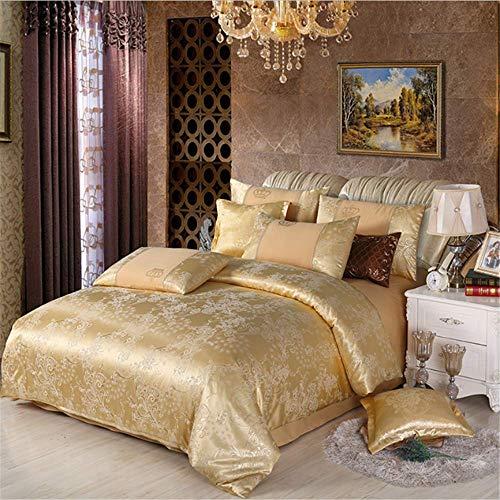 SHJIA Bettwäsche Set König Queen Size Royal Bett Set Seide Baumwolle Bettbezug Set Kissenbezug G 220x240cm