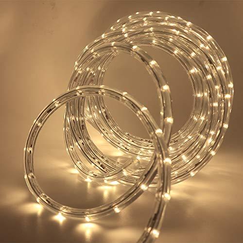 XUNATA 220V-240V LED Lichterschlauch Licht Leiste 36LEDs/m IP65 Wasserdicht Schlauch Seil Lichter für Innen Außen Garten Party Weihnachten Deko(Warmweiß,12M) (Seil-beleuchtung 12 Meter)