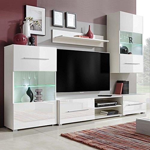 Festnight-- mobile soggiorno/unità mobile vetrina tv a parete illuminazione led bianco 5 pz