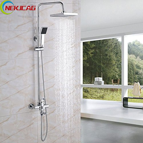 Luxurious shower Salle de bains douche chromée robinet de douche tête ABS + Pulvérisateur de poche en Laiton + robinet mélangeur robinet de douche,Chine