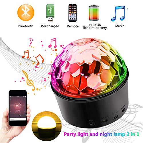 Bluetooth Discokugel Nachtlicht,Emooqi 9 Farbe Partylicht Musik Player mit Fernbedienung & USB für Party Kinde Karaoke Geburtstag