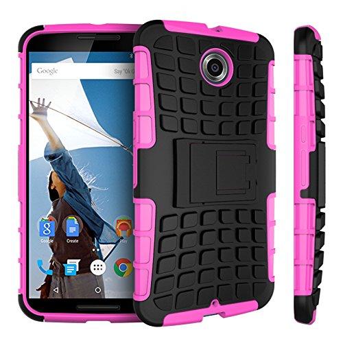 Motorola Nexus 6 Kasten, CaseFirst Reifenstreifen Hybrid Combo Shockproof Rüstung Robuste Dual Layer Case Cover mit Kickstand für Motorola Nexus 6 (Rosig)