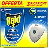 Raid Night & Day Ricarica Antizanzare Elettrico, Repellente Zanzare Inodore a Sabbia Compressa, 3 Ricar