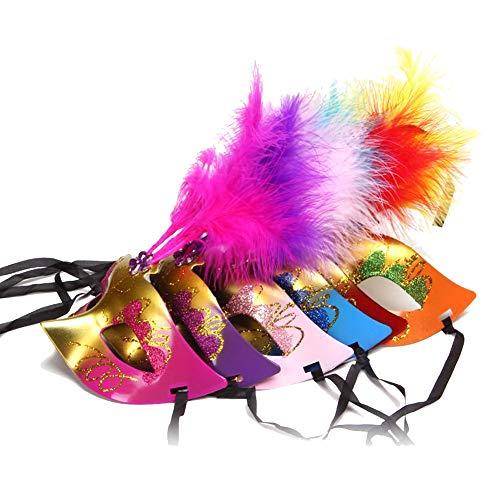 JingHeYongKeJi Angeführt Glow Frauen, M?nner Unisex Feder Bunte Maske Maskerade Cosplay Abendkleid-Partei Prinzessin Feder Maskerade-Party Supplies Masken (Zuf?llige Farbe)