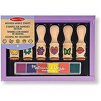 Melissa & Doug- Happy Handles Sellos con Mango de Madera, Multicolor (12407)