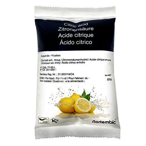 Zitronensäure 500 g, reine Lebensmittelqualität. NortemBio. CE – Produkt