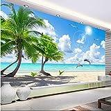 YFXGSTLI Papier Peint 3D Mural 3D Chambre TV Fond Fresque HD Noix De Coco Arbre Plage Dauphin Paysage Photo Rouleau Taille Personnalisée