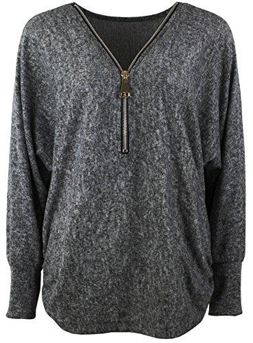 Emma & Giovanni - Damen - Langarmshirt - Pullover - Top & Shirt (S/M, Ärmel - Schwarz)