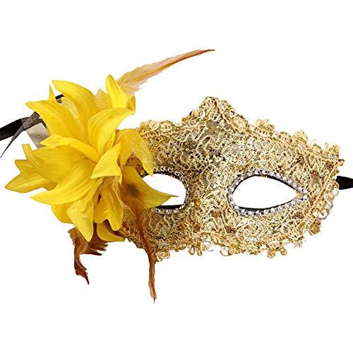 Zolimx Lace Strass Pailletten Seite Blumenmaske Sexy Frauen Schwarz Spitze Auge Gesichtsmaske Maskerade Party Ball Prom Kostüm - Baby Hitler Kostüm