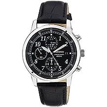 Seiko SNDC33P1 - Reloj cronógrafo de caballero de cuarzo con correa de piel negra - sumergible a 100 metros