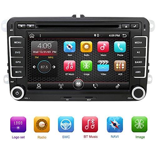 Eunavi 2DIN Android 7.1Audio pour Voiture Lecteur DVD de Voiture Radio GPS Écran Tactile Lecteur DVD de Voiture pour VW Golf 6Polo Bora Jetta B6Passat Tiguan Skoda Octavia 5g OBD