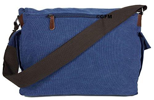 Seconds GFM -  Borsa Messenger classica in tessuto ideale per la scuola, per portare in  ufficio, in viaggio - Stile casual Large - #02NL - Blue