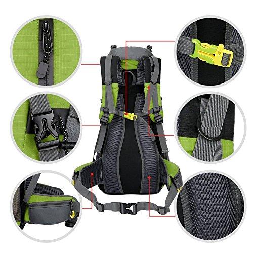 Wanderrucksack, 50l (45+5), Nylon, wasserdicht, geeignet für Wandern, Camping, Angeln, Radfahren, Skifahren Grün