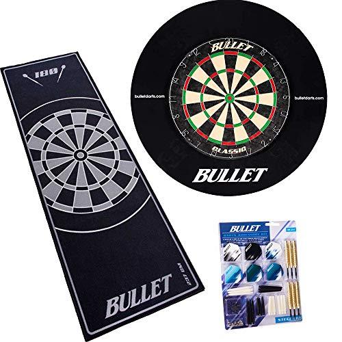 BULLET-Darts Großes Dart Turnier Set, Dartboard aus Brasilianischen Sisal, 90 teiligem Steeldarts-Set, Surround Ring und einem professionellem Teppich - Schwarz/Grau