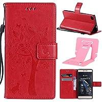 P8 Custodia, Huawei P8 Cover - Ekakashop lusso caramella colore della creativo Moda Rosso Cat & Albero goffratura modello Premium in PU pelle capovolgere con il cavalletto di Sostegno e slot Funzione di paraurti protettiva cassa cover per Huawei P8 - 1x Kickstand (Colore Casuale)