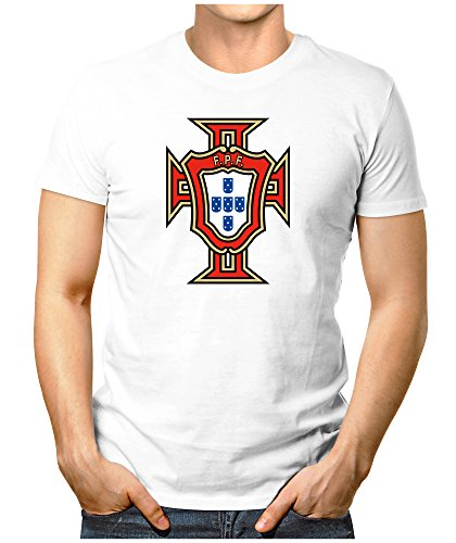 Prilano Herren Fun T-Shirt - Portugal-WM - XXL - Weiß (Jones Weißes Trikot)