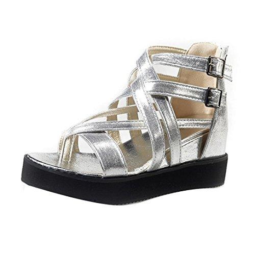 Rcool Damen Sommer Sandalen Schuhe Peep-Toe Low Schuhe R枚mische Sandalen Dame Silber