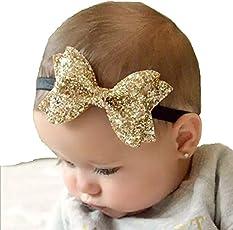 Ziory Golden Baby Girl Baby Boy Unisex Newborn Bow Knot Hair band Elastic Bow Headband Kids Hair Accessories Headwear