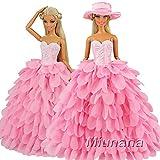 Miunana Abendkleid Prinzessin Kleidung Dress Kleider mit Hut für Barbie Puppen