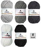 Mix-Sortiment myboshi Grau 5x50g (silber 193, titangrau 194, anthrazit 194, schwarz 196, weiß 191) + 1 myboshi Label